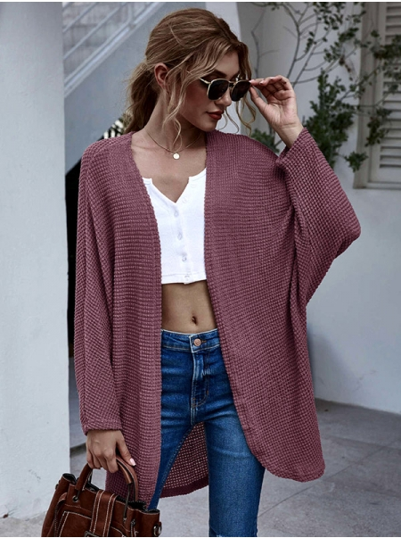 Dresswel Women Solid Color Open Front Outwear Knitted Cardigan Tops