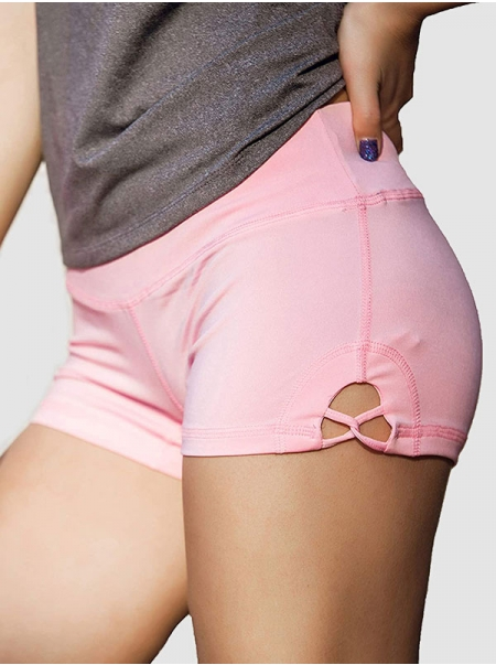 Dresswel Women Solid Color Running Hip Lifter Yoga Shorts Fitness Sports Pants