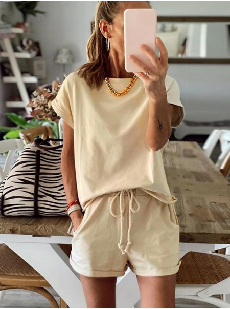 Dresswel Women Solid Color T-Shirts and Shorts 2Pcs Casual Soft Loungewear Suit