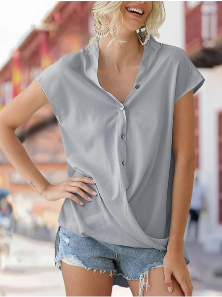 Dresswel Women Solid Color V Neck Buttons Blouse Shirts Tunics Tops