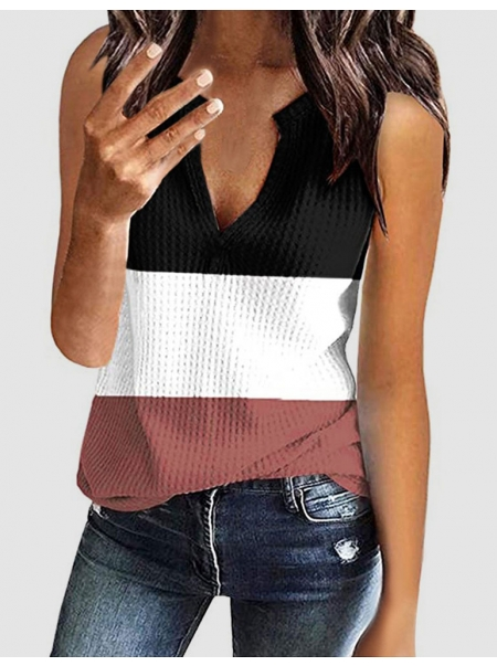 Dresswel Women Stitching Contrast Color Deep V Neck Knitwear Tank Top