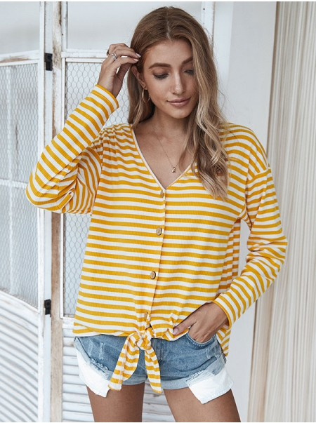 Dresswel Women Stripe Printed Buttons Knotted Hem Cardigan Tops