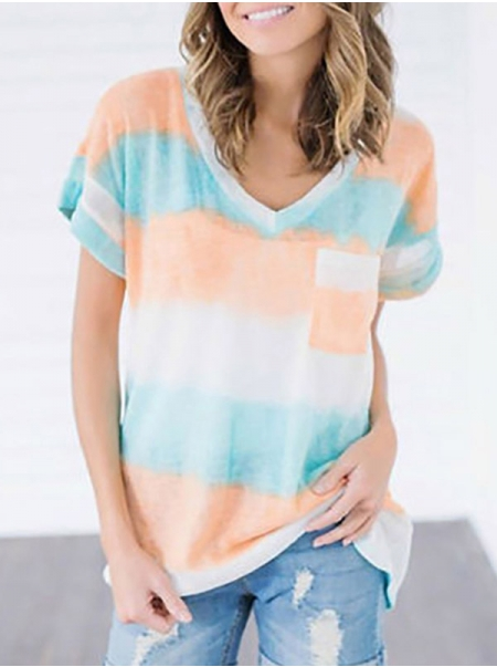 Dresswel Women Stripe Printed Short Sleeve V Neck with Pocket Casual T-Shirts Tops