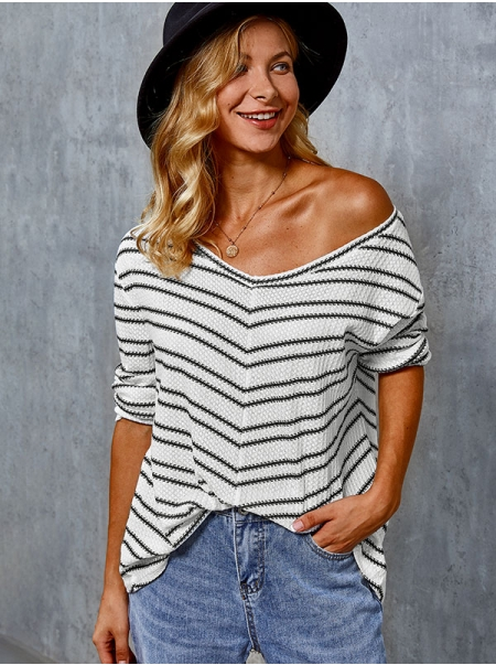 Dresswel Women Stripe Printed V Neck Long Sleeve Fashion Loose Blouse Tops