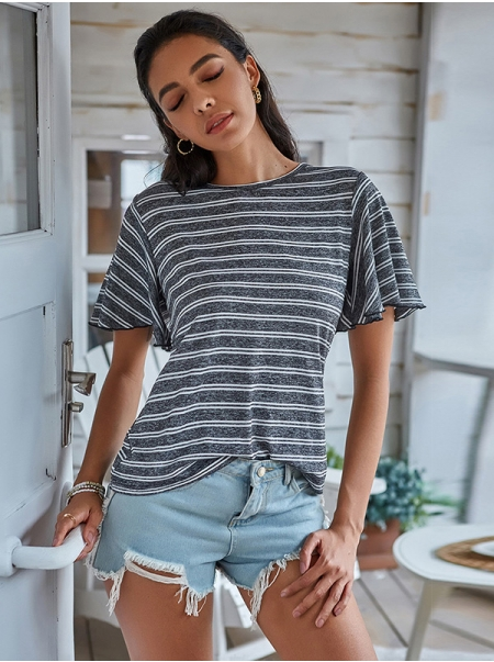Dresswel Women Striped Short Sleeves Fashion Loose Round Neck Pullover Tee T-Shirts Tops