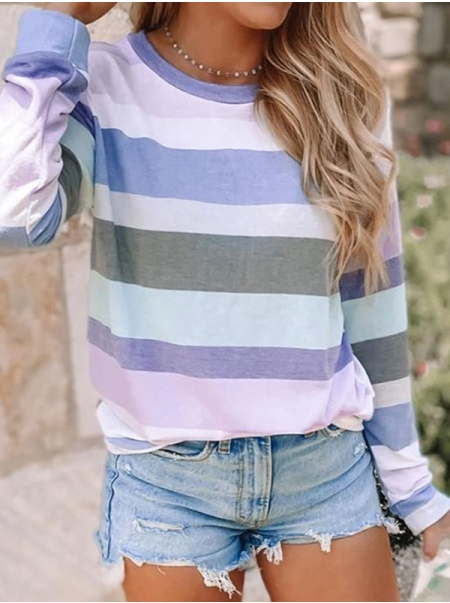 Dresswel Women Stripes Color Block Round Neck Long Sleeve Pullover Sweatshirt Tops