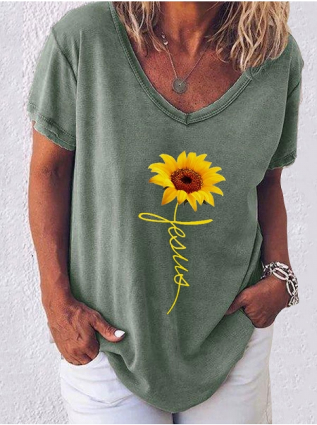 Dresswel Women Sunflower Graphic Jesus Letter Printed Fashion T-Shirts Tops