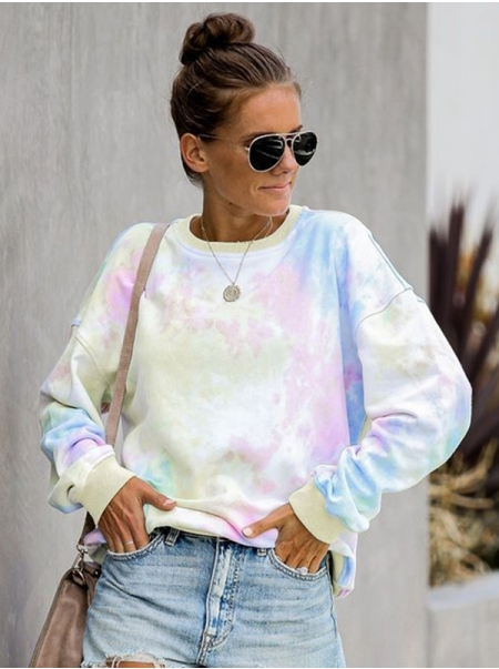 Dresswel Women Tie-dye Colorblock Long Sleeve Casual Loose Sweatshirt Tops