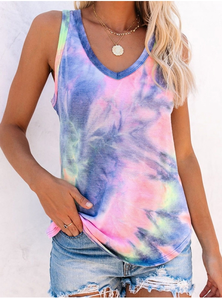 Dresswel Women Tie-dye Printed Sleeveless Tops V Neck Colorful Tank Shirts