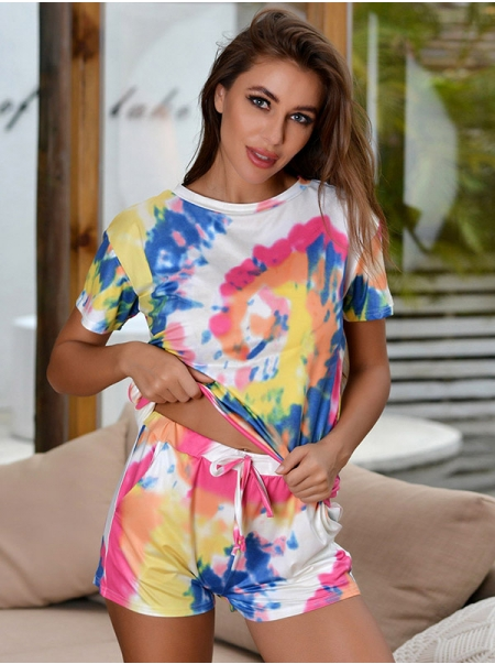Dresswel Women Tie-dye Short Sleeves Top Lace-up Shorts Two-piece Pajamas