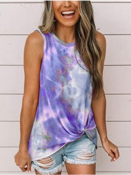 Dresswel Women Tie-Dyed Printed Knotted Hem Tank Tops