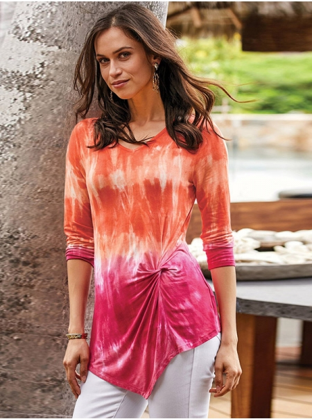 Dresswel Women Tie-Dyed Printed V Neck Knotted Hem T-Shirts Tunics Tops