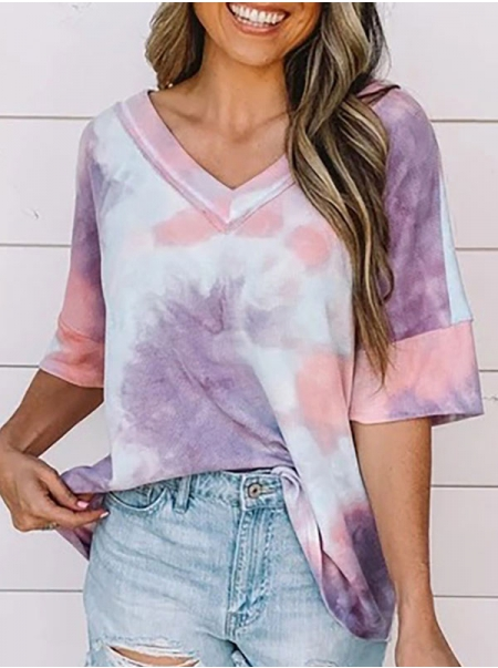Dresswel Women Tie-Dyed Printed V Neck Short Sleeve Casual Comfy T-Shirts Tops