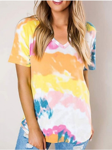 Dresswel Women Tie-Dyed Printed V Neck Short Sleeve Casual Loose Fit T-Shirts Tops