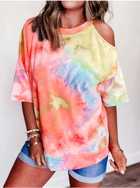 Dresswel Women Tie-Dyed Short Sleeve Cold Shoulder T-Shirts Tops