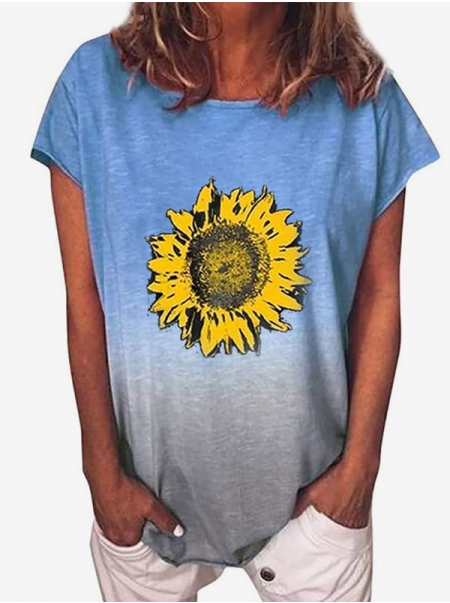 Dresswel Women Tie-Dyed Sunflower Printed T-Shirt Tops
