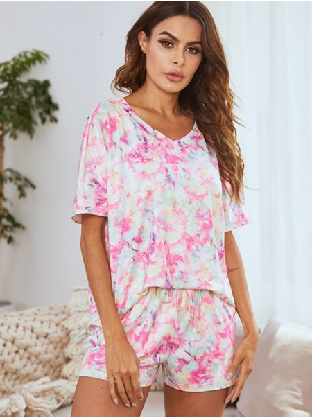 Dresswel Women Tie-Dyed V Neck Short Sleeve Casual Loose Comfy Home Wear Set Pajama