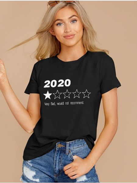 Dresswel Women Very Bad Would Not Recommend 2020 Stars Print T-Shirts Top