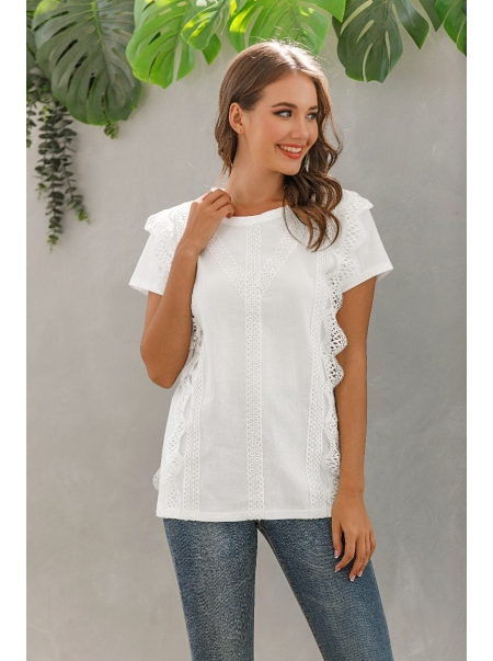 Dresswel Women Solid Color Crochet Round Neck Short Sleeve T-shirt Loose Fit Tops
