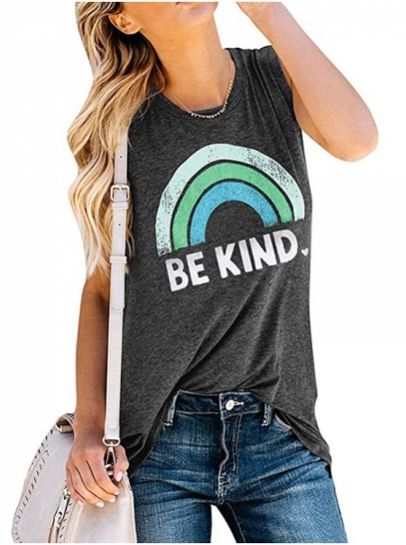 Dresswel Women Be Kind Letter Print Rainbow Graphic Sleeveless Tank Tops