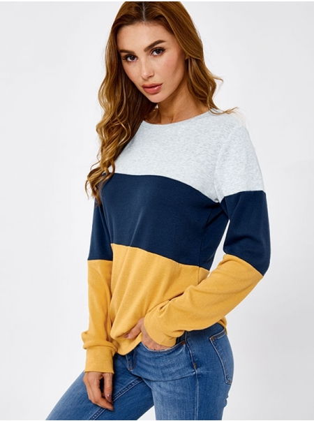 Dresswel Women Pullover Contrast Color Patchwork Long Sleeve Casual Sweatshirts Tops