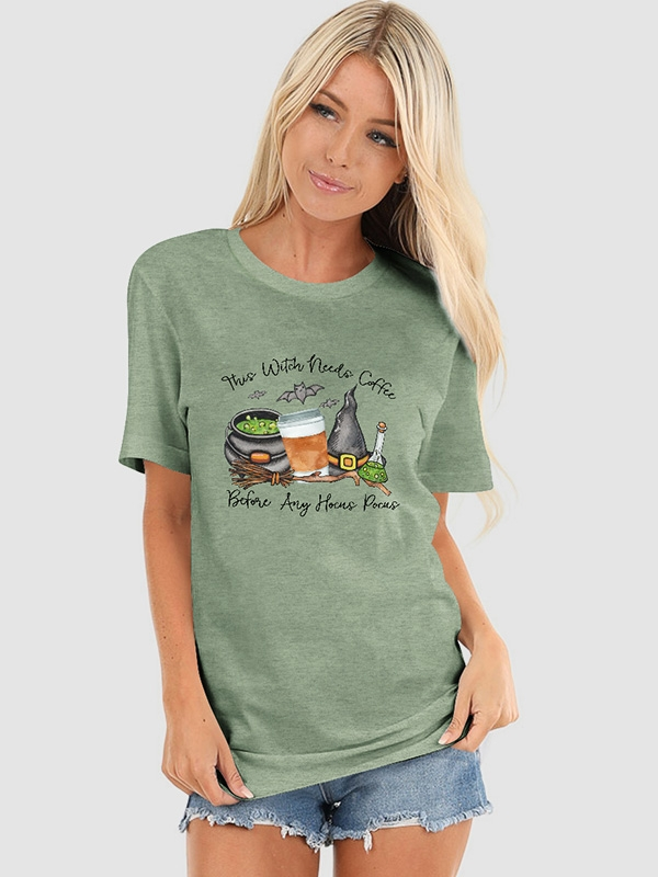Cute Mom Coffee Shirt Fall Autumn Coffee Lover Tees Hocus Pocus Women/'s Halloween Shirt This Witch Needs Coffee Before Any Hocus Pocus