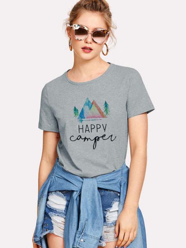 Dresswel Women happy camper Letter Print Short Sleeve Round Neck Casual T-shirt Tops