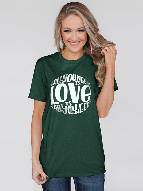 Dresswel Women All You Need is Love Letter Print Loose Fit T-Shirt Tops