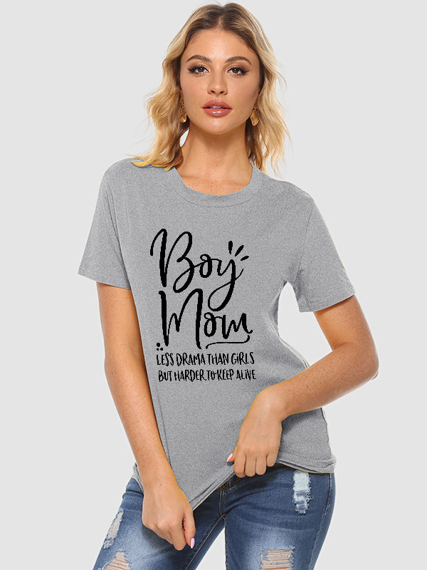 Dresswel Women Boy Mom Letter Casual Blouse Short Sleeve Pullover T-Shirts Tops