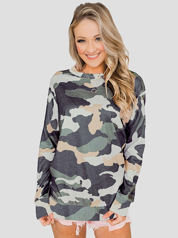 Dresswel Women Camouflage Crew Neck Blouse Pullover Long Sleeve Sweatshirts Tops