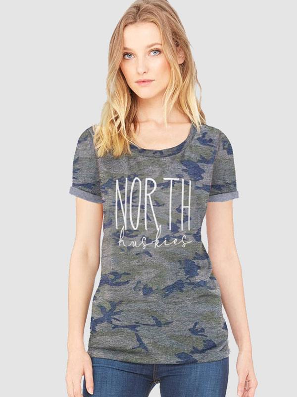 Dresswel Women Camouflage North Huskies Letter Printed T-Shirts Tops