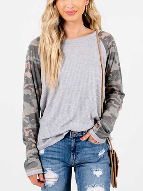 Dresswel Women Camouflage Print Long Sleeve Colorblock Crew Neck Casual Loose Blouse Tops