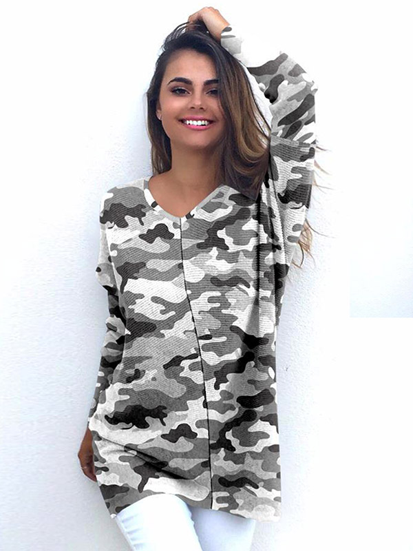 Dresswel Women Camouflage Printed Stitching Long Sleeves Shirt Tops