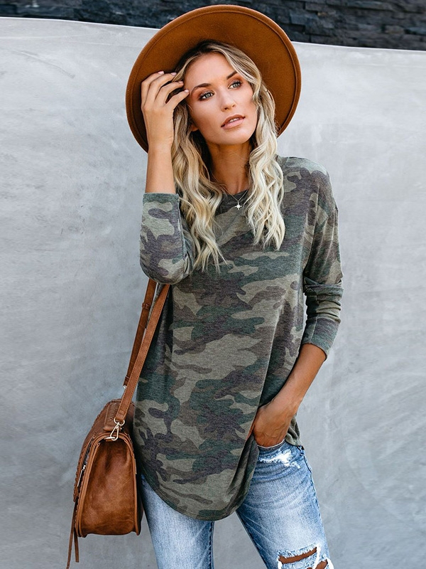 Dresswel Women Camouflage Pullover Long Sleeve Casual Loose Tunic Blouse Tops