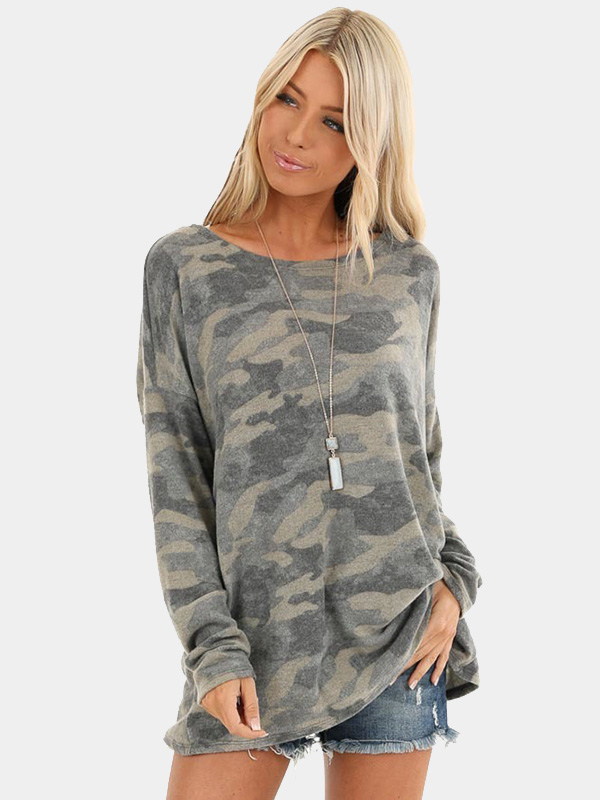 Dresswel Women Camouflage Pullover Long Sleeve Shirts Loose Fit Tunic Tops