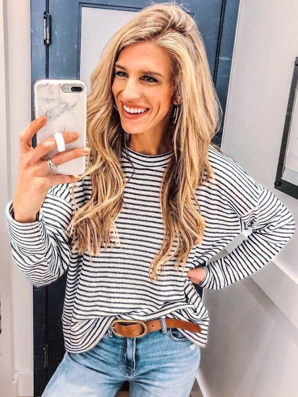 Dresswel Women Casual Horizontal Stripes Pullover Loose Fit Plain Blouse Tops