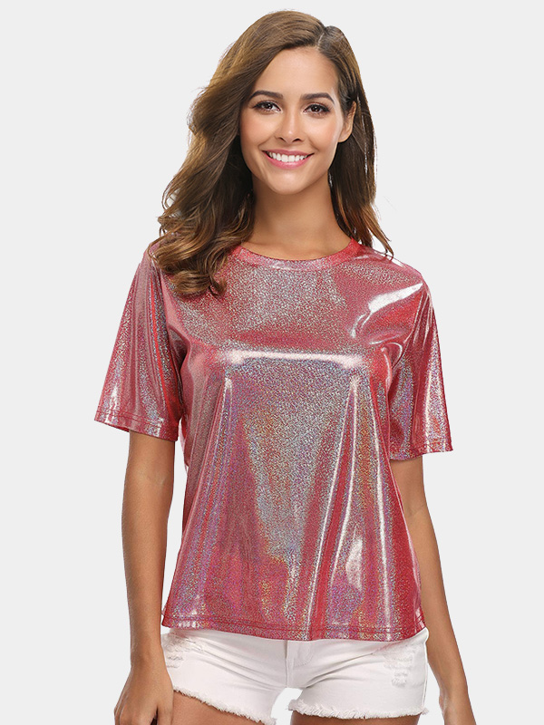 Dresswel Women Crew Neck Sequin Fashion Style Short Sleeve Casual T-Shirts Tops