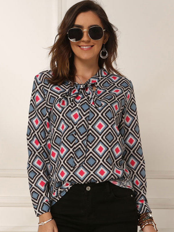 Dresswel Women Floral Plaid Print Tie Knot Front Shirt Long Sleeve Casual Blouse Tops