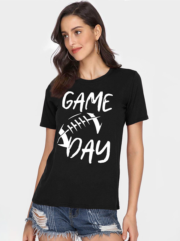 Dresswel Women Game Day Letter Printed Tees Super Bowl Graphic T-Shirt Tops