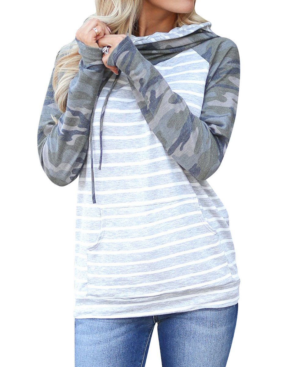 Dresswel Women Hooded Camouflage Striped Spliced Hoodies Tops