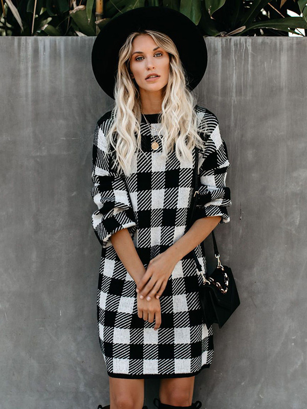 Dresswel Women Houndstooth Plaid Colorblock Long Sleeve Pullover Mini Dress