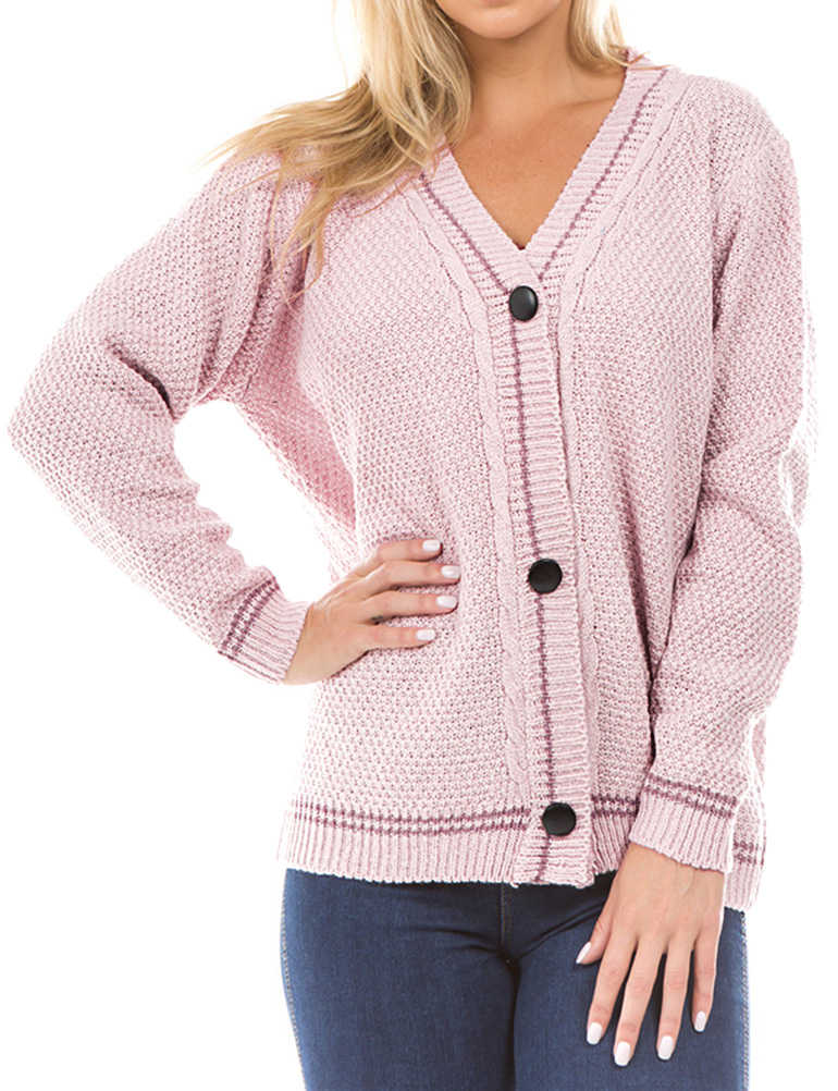 Dresswel Women Knitted Cardigan Button Cable Knit Sweater Coat Tops