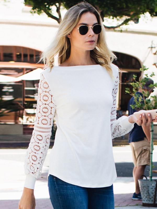 Dresswel Women Lace Stitching Long-sleeved Shirt Hollow Out OL Plain Blouse Tops