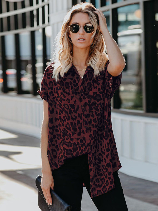 Dresswel Women Lapel Leopard Stylish OL Button Down Pockets Tunics Tops
