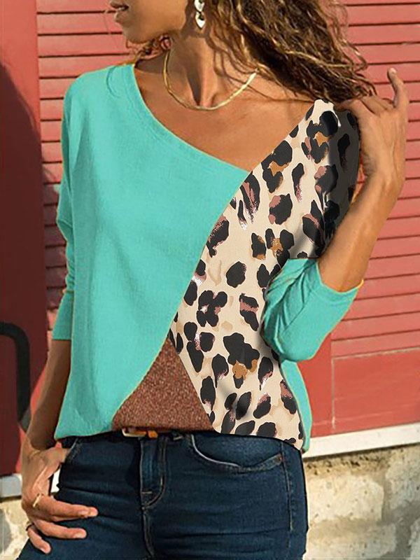 Dresswel Women Leopard Patchwork Colorblock Long Sleeves Shirts Tops