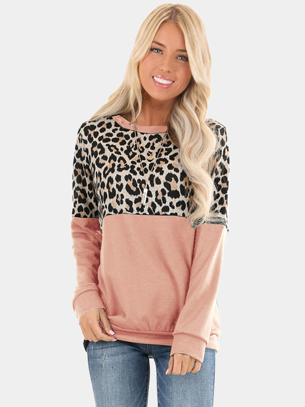 Dresswel Women Leopard Print Patchwork Colorblock Shirts Pullover Long Sleeve Blouse Tops