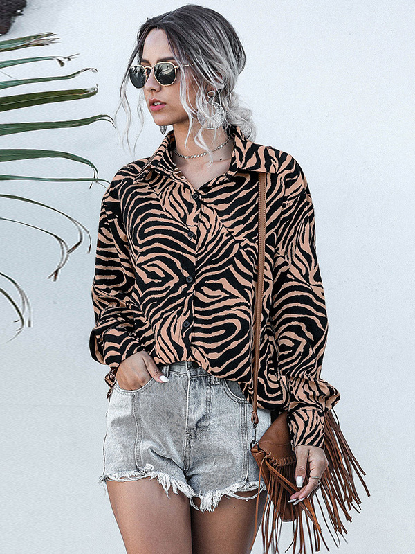 Dresswel Women Leopard Stripes Fashion Chiffon Shirt Lapel Long Sleeves Button Blouse Tops