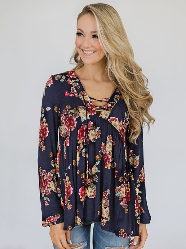 Dresswel Women Long Sleeve Floral Printed Lace Up Babydoll Blouse Tops