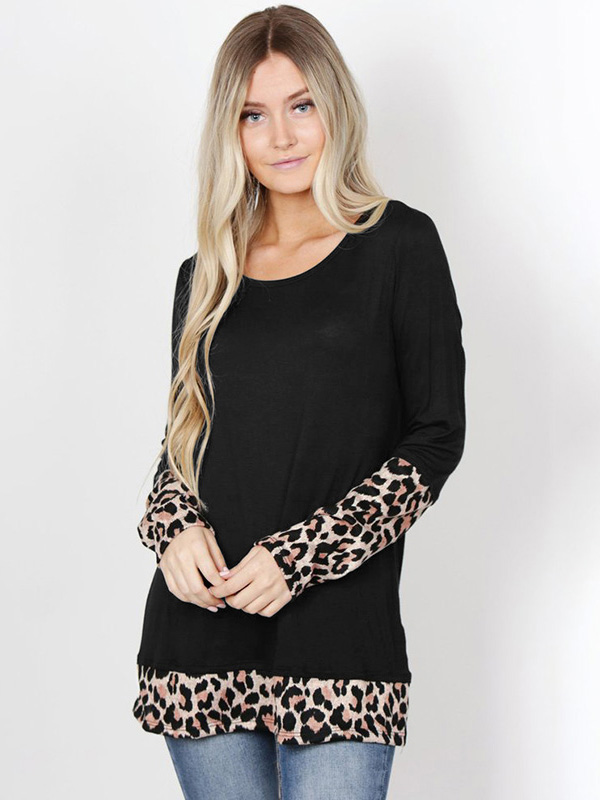 Dresswel Women Long Sleeve Leopard Stitching Round Neck Casual T-shirt Tops