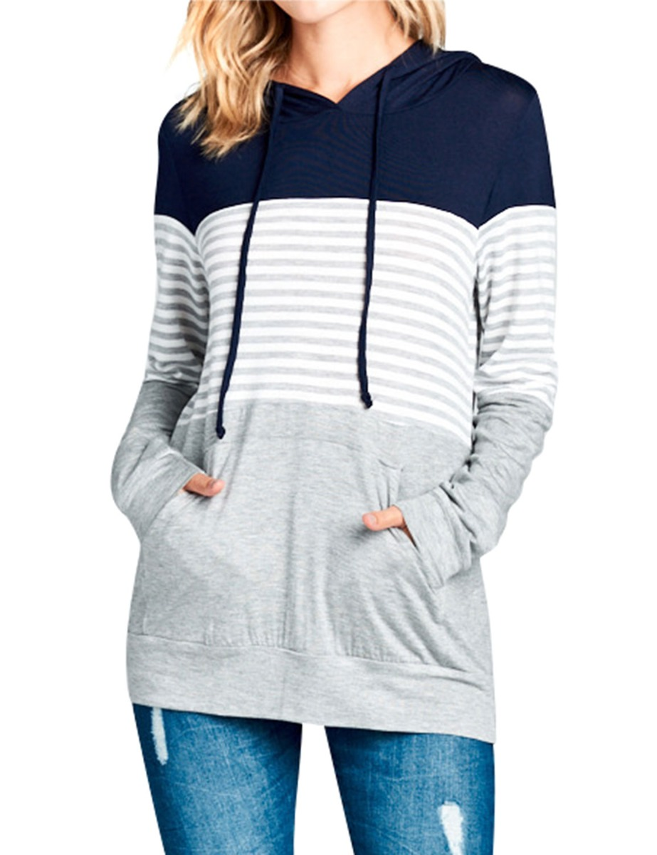 Dresswel Women Long Sleeve Round Neck Slim Drawstring Color Block With Front Pockets Hoodie Tops